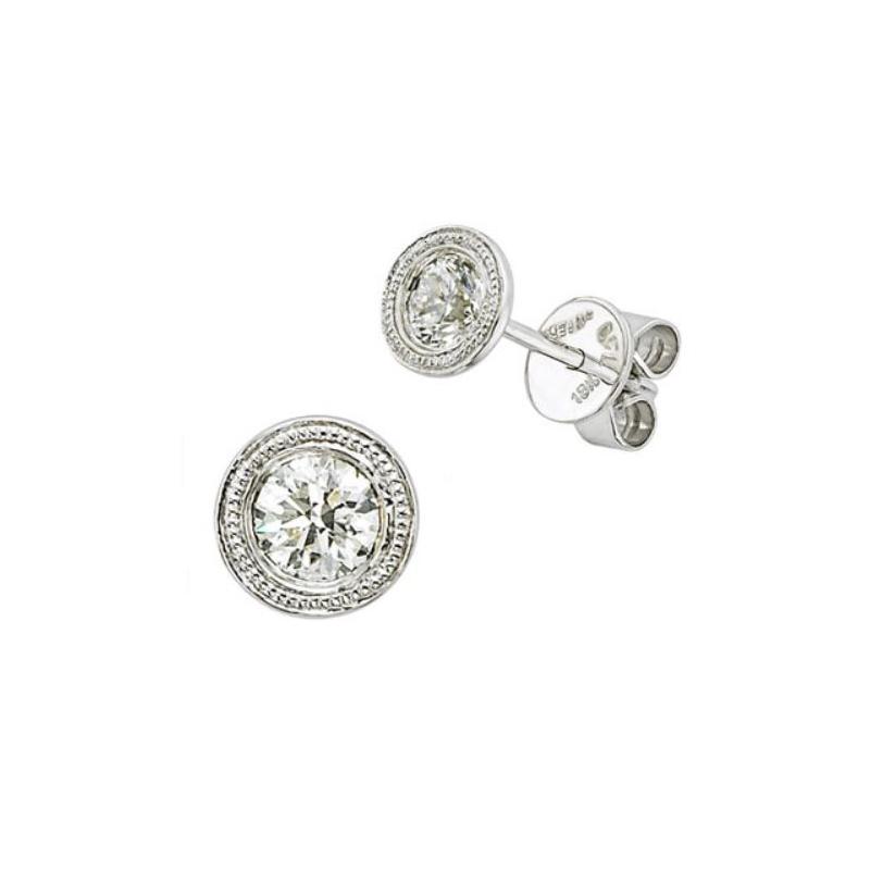 Beny Sofer 14 Karat White Gold Diamond Milgrain Stud Earrings