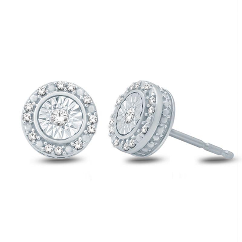 10 Karat white gold diamond button stud earrings.