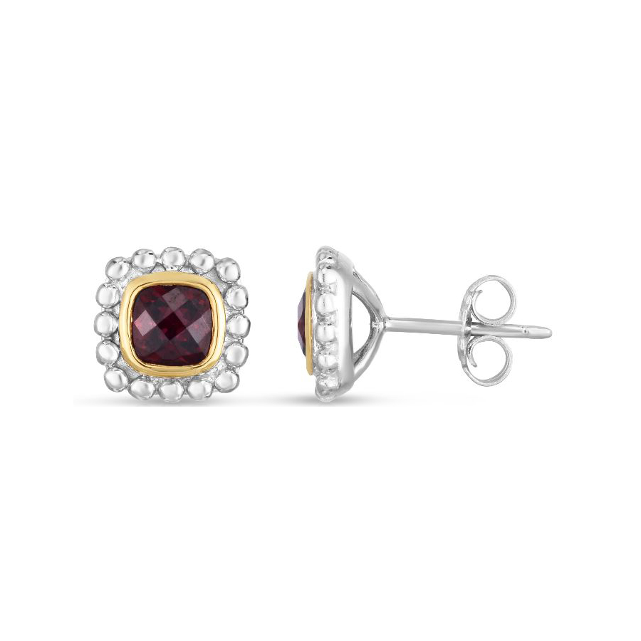 Royal Chain 18 Karat Yellow Gold and Sterling Silver Square Garnet Stud Earrings