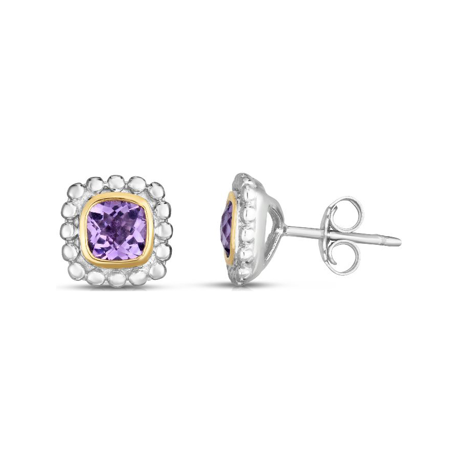 Royal Chain 18 Karat Yellow Gold and Sterling Silver Square Amethyst Stud Earrings