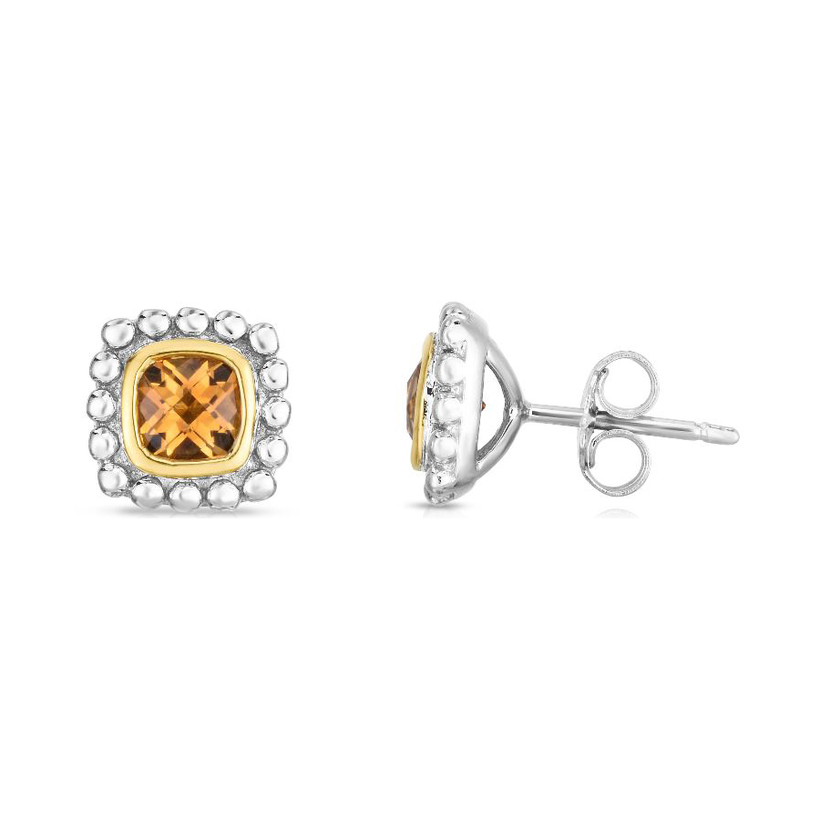 Royal Chain 18 Karat Yellow Gold and Sterling Silver Square Citrine Stud Earrings