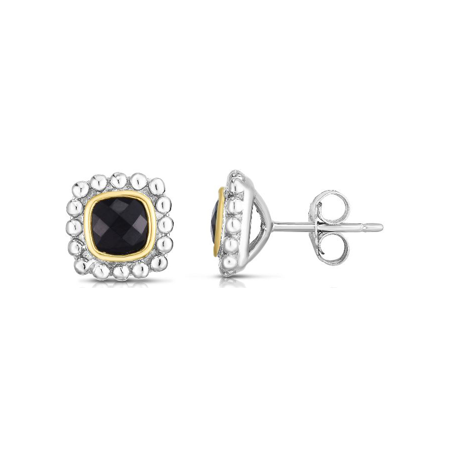 Royal Chain 18 Karat Yellow Gold and Sterling Silver Square Black Onyx Stud Earrings
