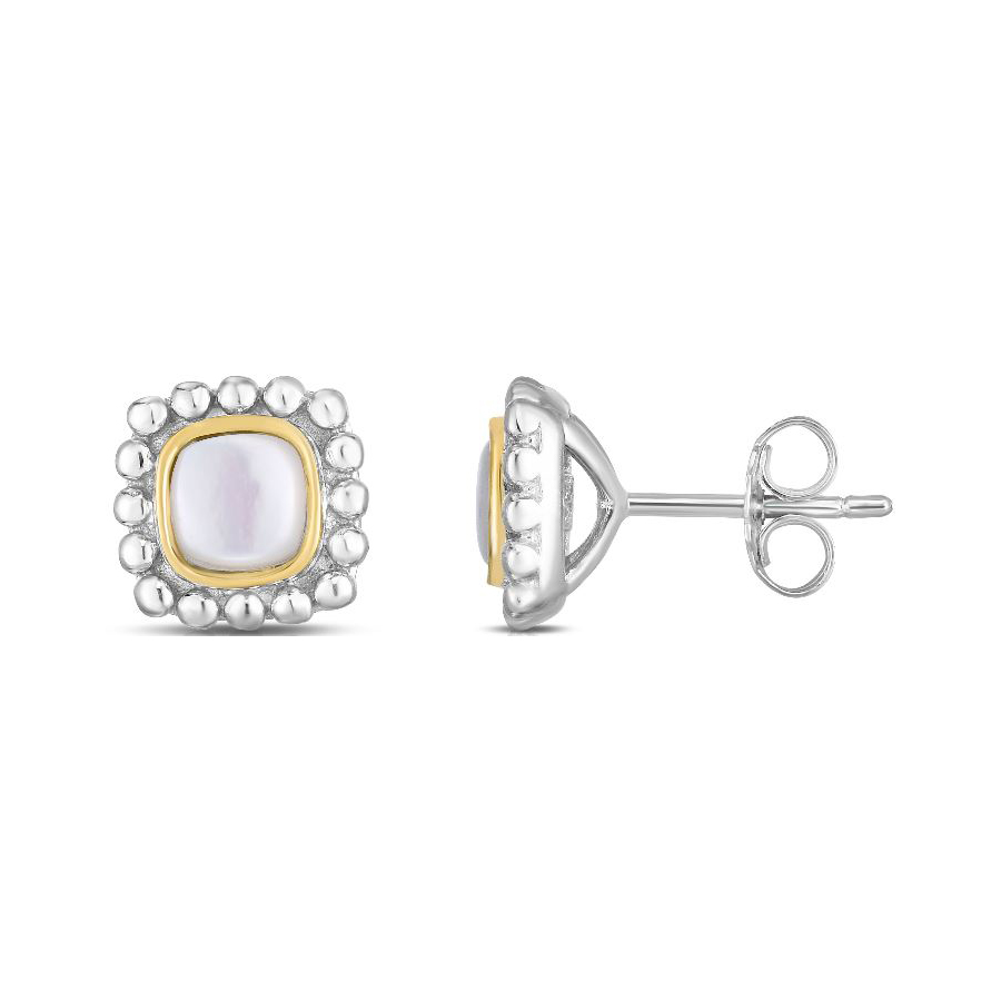 Royal Chain 18 Karat Yellow Gold and Sterling Silver Square Mother of Pearl Stud Earrings