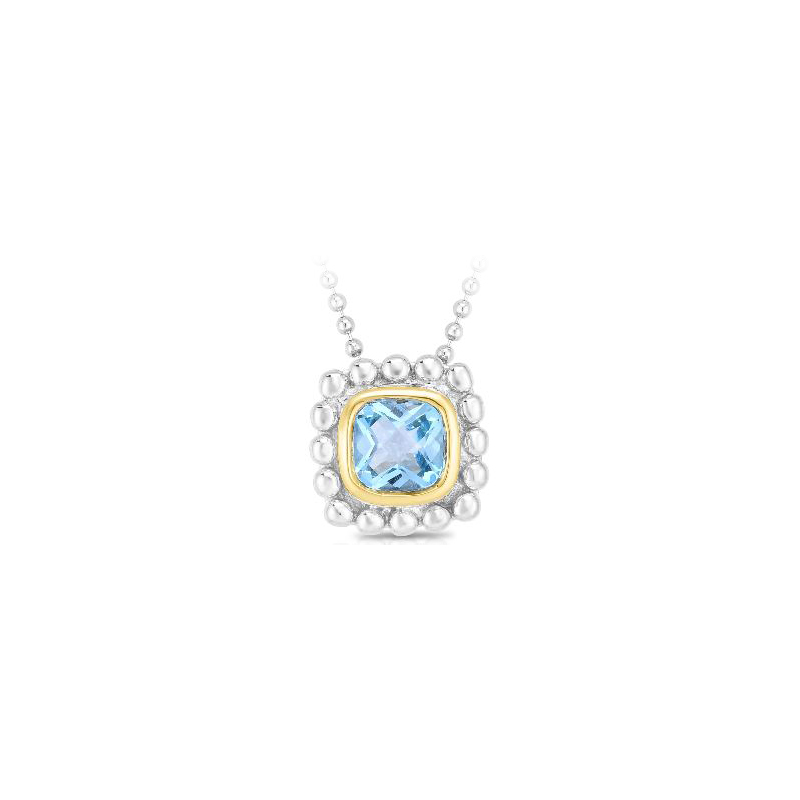 Royal Chain 18 Karat Yellow Gold and Sterling Silver Square Blue Topaz Pendant Necklace