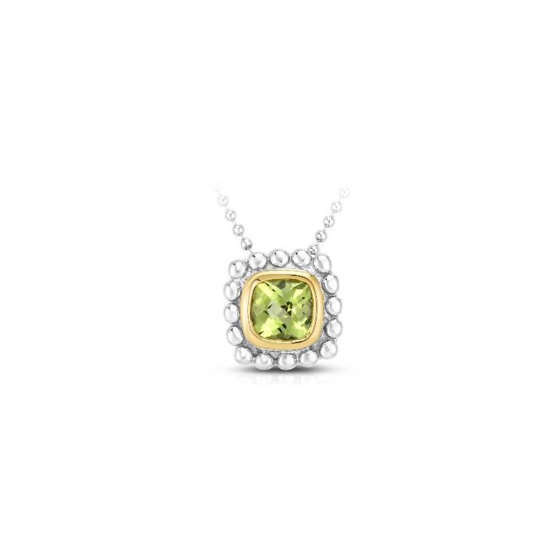 Royal Chain 18 Karat Yellow Gold and Sterling Silver Square Peridot Pendant Necklace