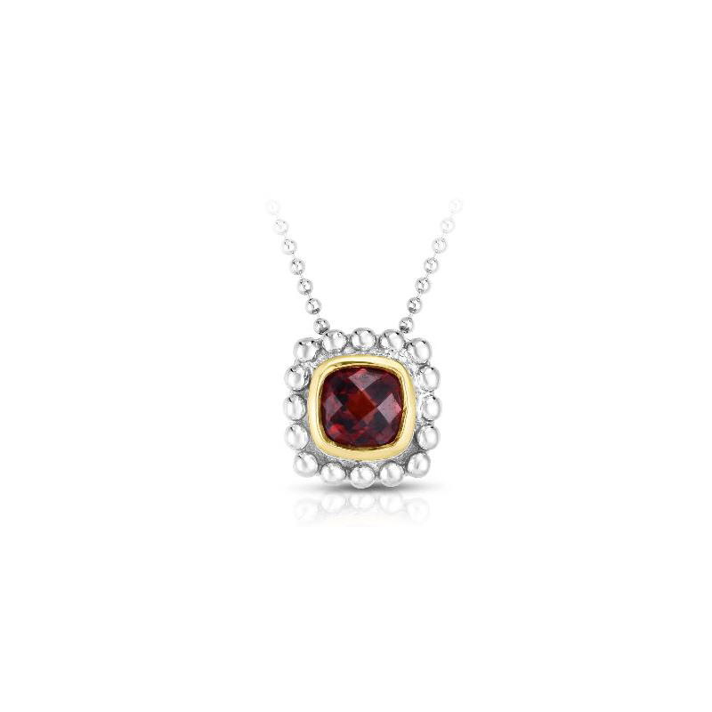 Royal Chain 18 Karat Yellow Gold and Sterling Silver Square Garnet Pendant Necklace