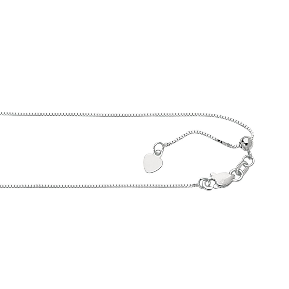 Royal Chain Sterling Silver Rhodium Adjustable Box Chain