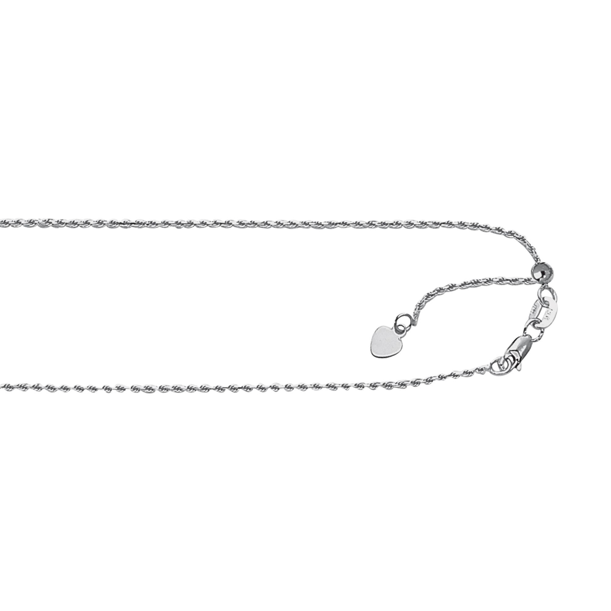 Royal Chain Sterling Silver 1.0mm Rhodium Adjustable Rope Chain