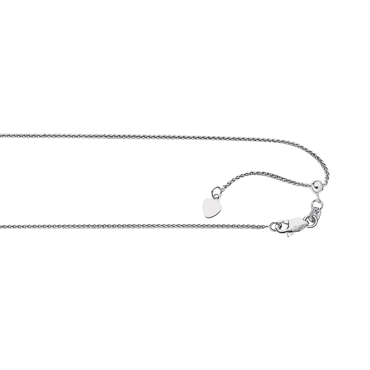 Royal Chain Sterling Silver 1.0mm Rhodium Adjustable Spiga Chain