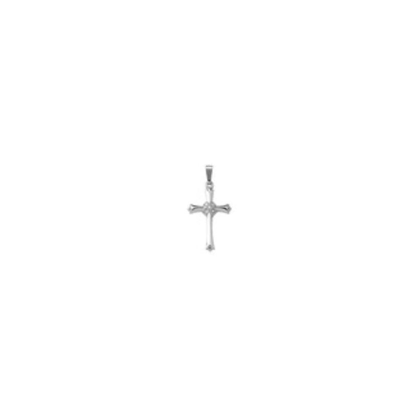 Sterling Silver Cross Diamond Cluster Pendant Necklace