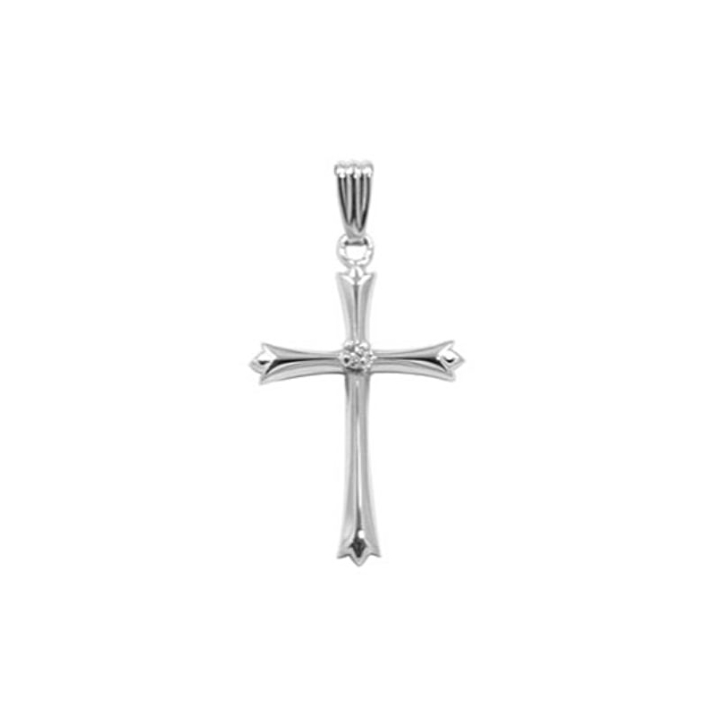 Sterling Silver Cross Diamond Pendant Necklace