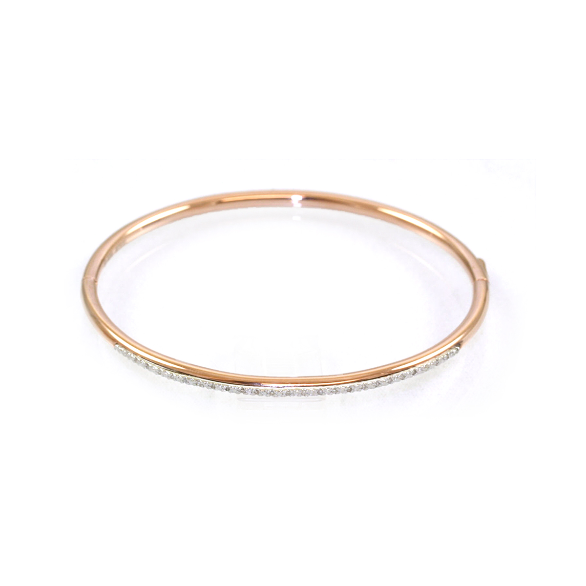 Rose Steel and Sterling Silver Diamond Bangle