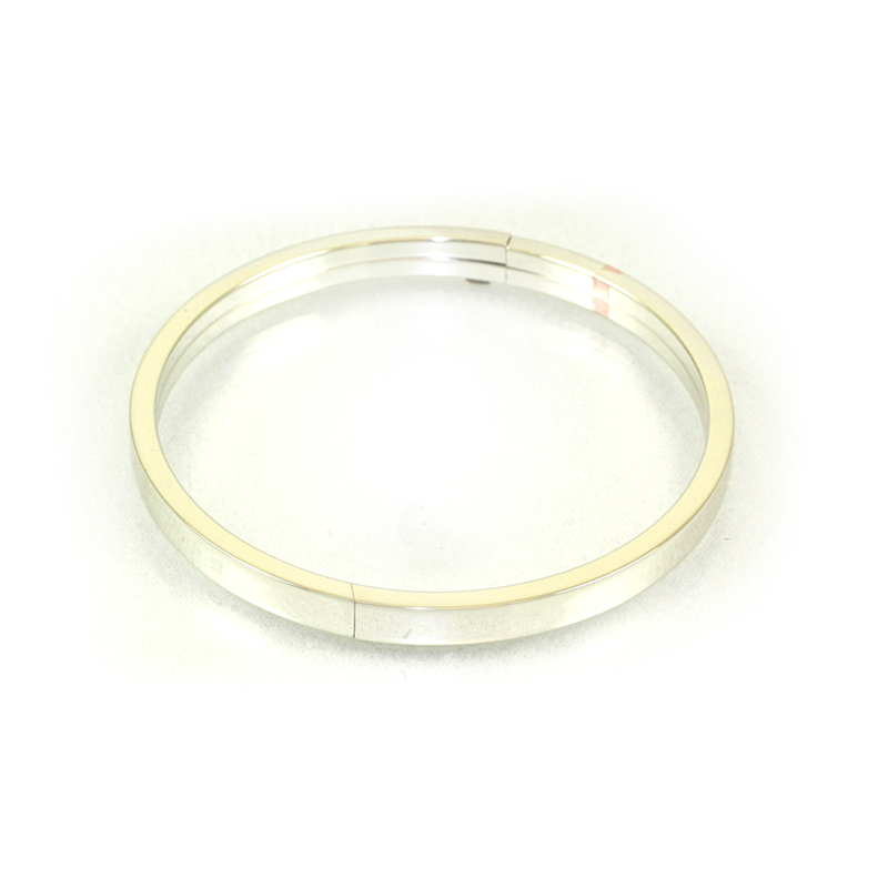 Sterlring Silver Polished Flat Edge Hinged Bangle Bracelet