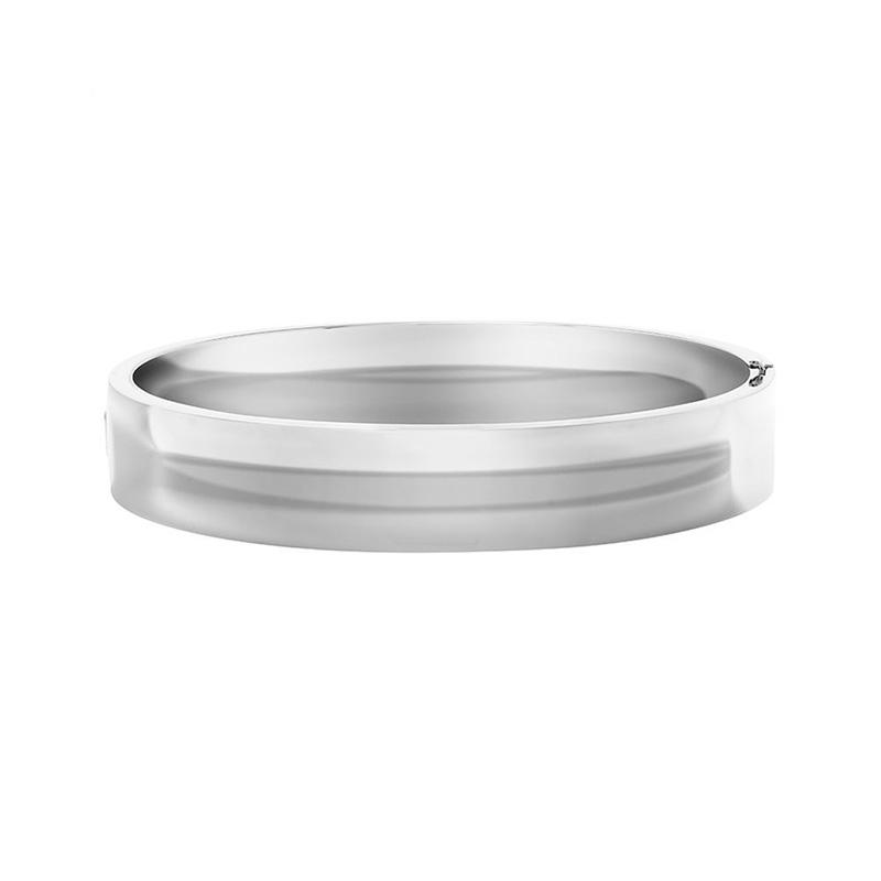 Sterling Silver Wide flat Hinged Bracelet.