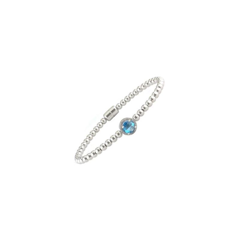 Sterling Silver Blue Topaz and Diamond Bead Bangle