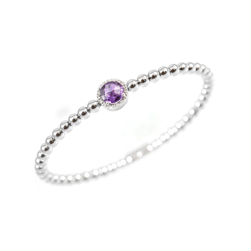 Sterling Silver Diamond and Amethyst bead bangle bracelet.