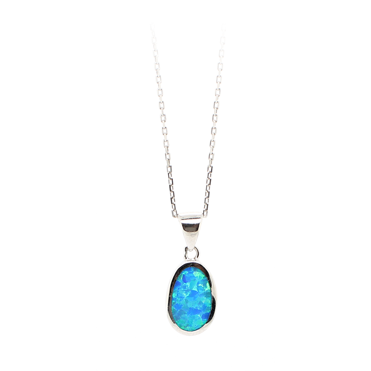 Royal Chain Sterling Silver Oval Blue Opal Pendant Necklace