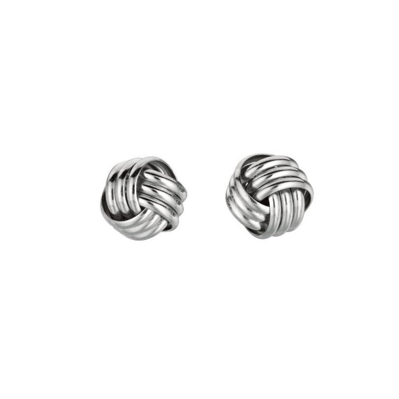 Royal Chain Sterling Silver 3-strand Knot Stud Earrings