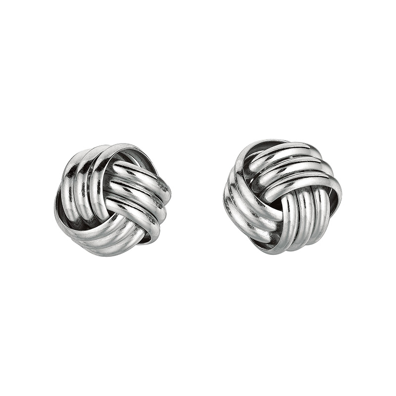 Sterling Silver 3 strand knot stud earrings. Pierced.