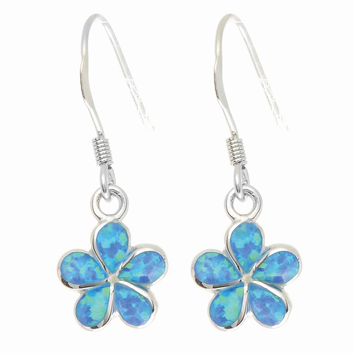 Royal Chain Sterling Silver Opal Flower Dangle Earrings