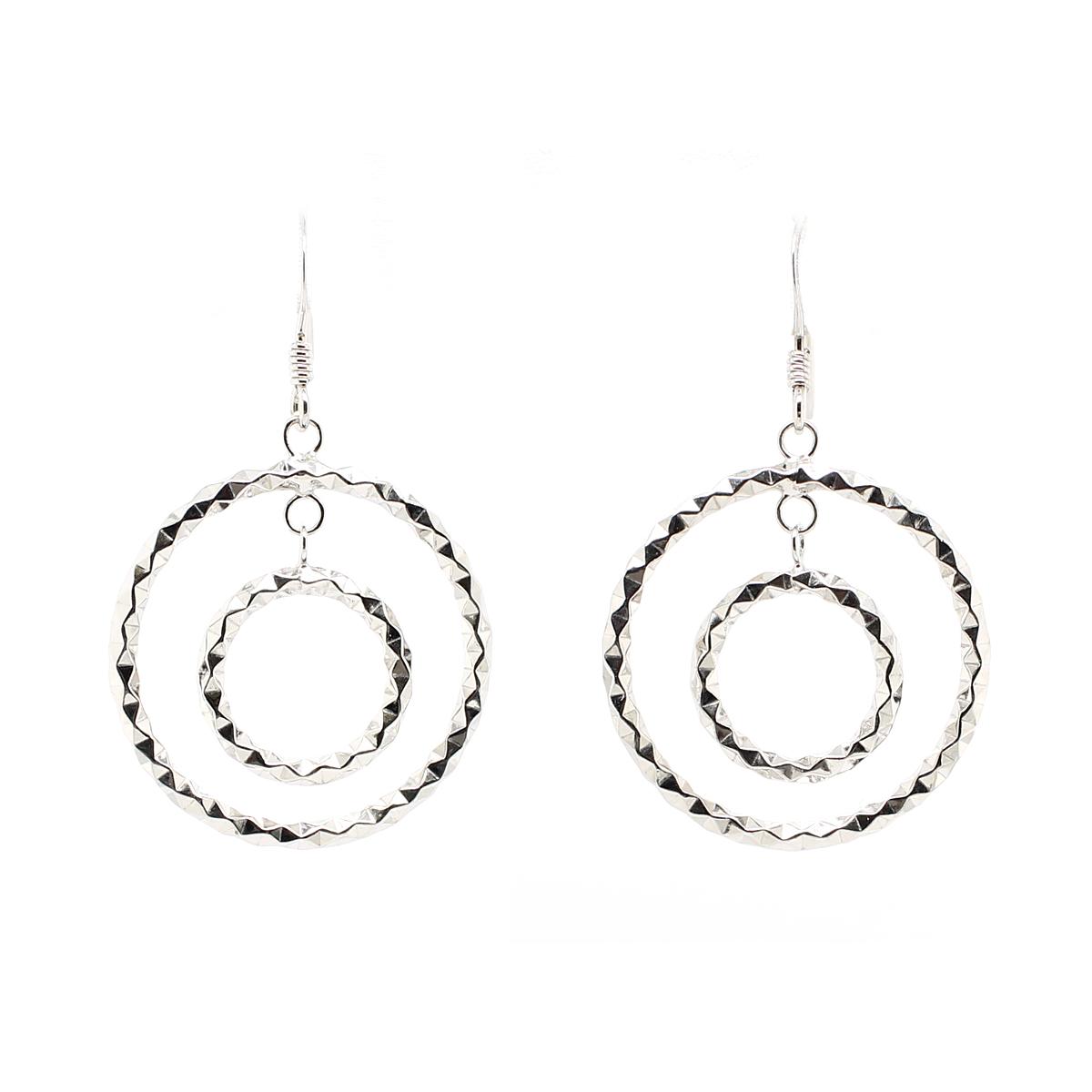 Royal Chain Sterling Silver Diamond Cut Circle Dangle Earrings