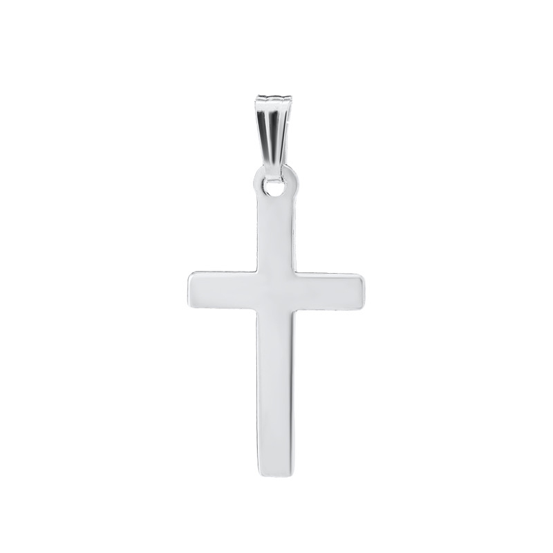 Sterling Silver Polished Cross Pendant Necklace