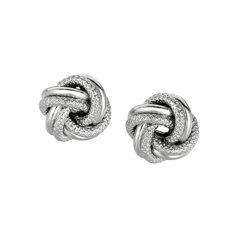 Sterling Silver love knot stud earrings. Pierced.