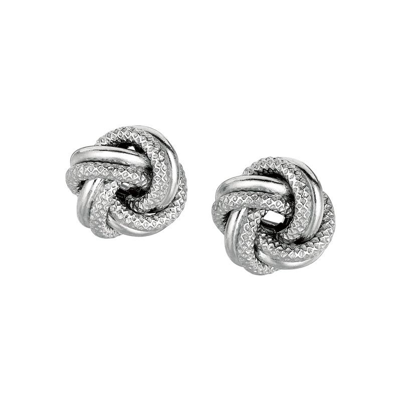Sterling Silver love knot stud earrings. Pierced.