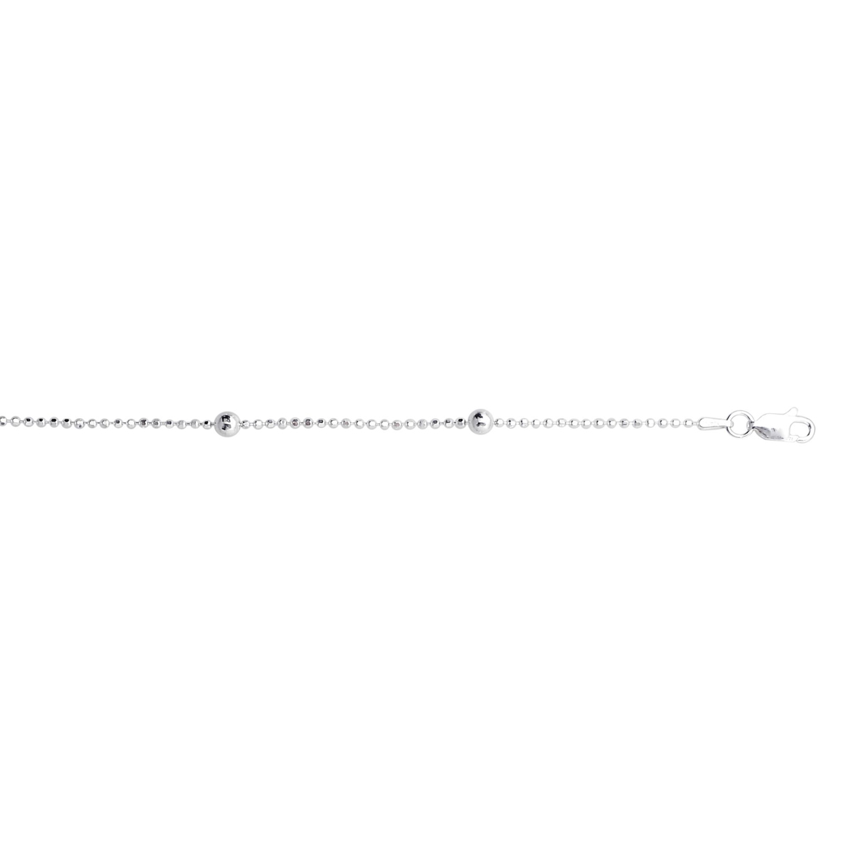 Royal Chain Sterling Silver Beaded Anklet