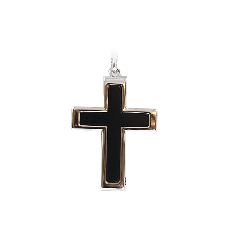 Sterling Silver Men's Black Onyx Cross Pendant necklace