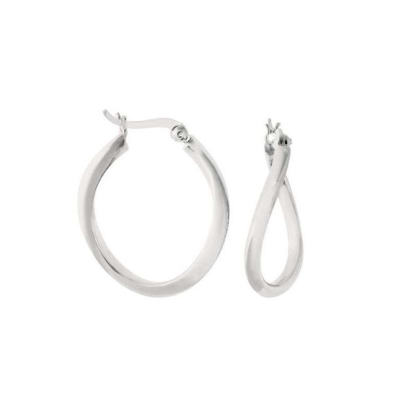 Royal Chain Sterling Silver Oval Twist Hoop Earring