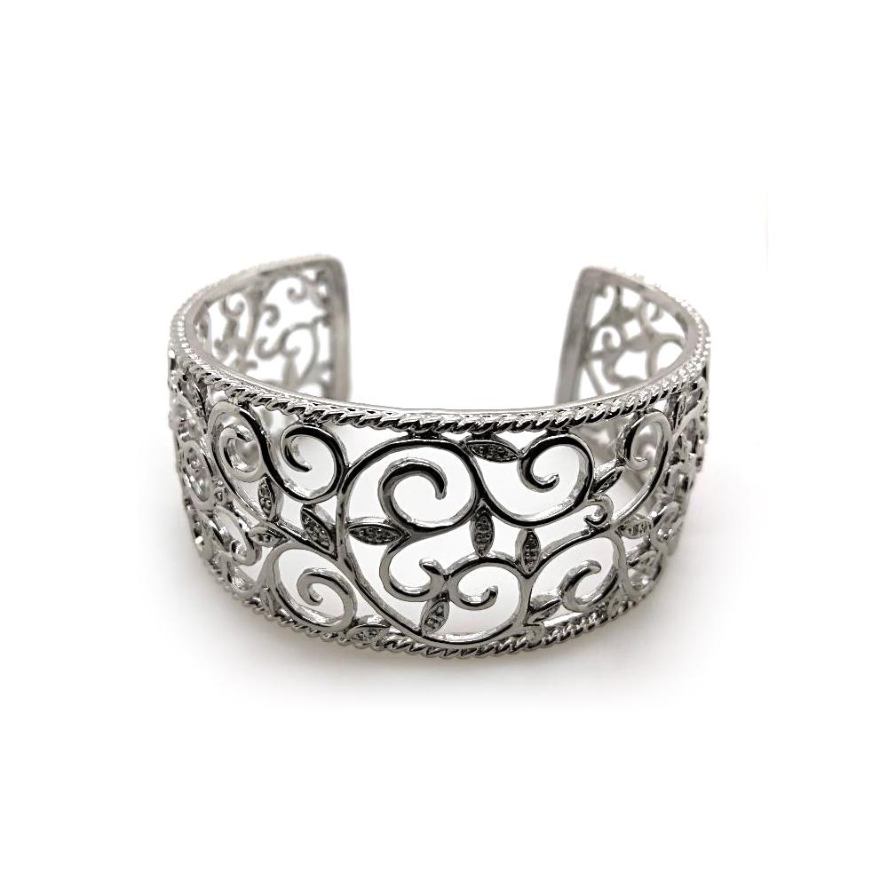 Sterling Silver Diamond Scroll Leaf Cuff