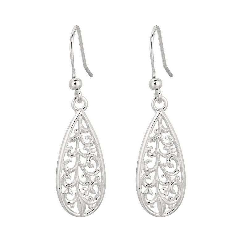 Royal Chain Sterling Silver Tear Drop Scroll Rhodium Earrings