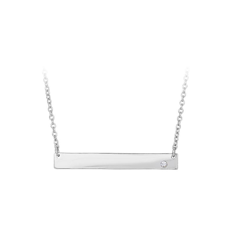 Royal Chain Sterling Silver Rhodium Cubic Zirconium Bar Pendant