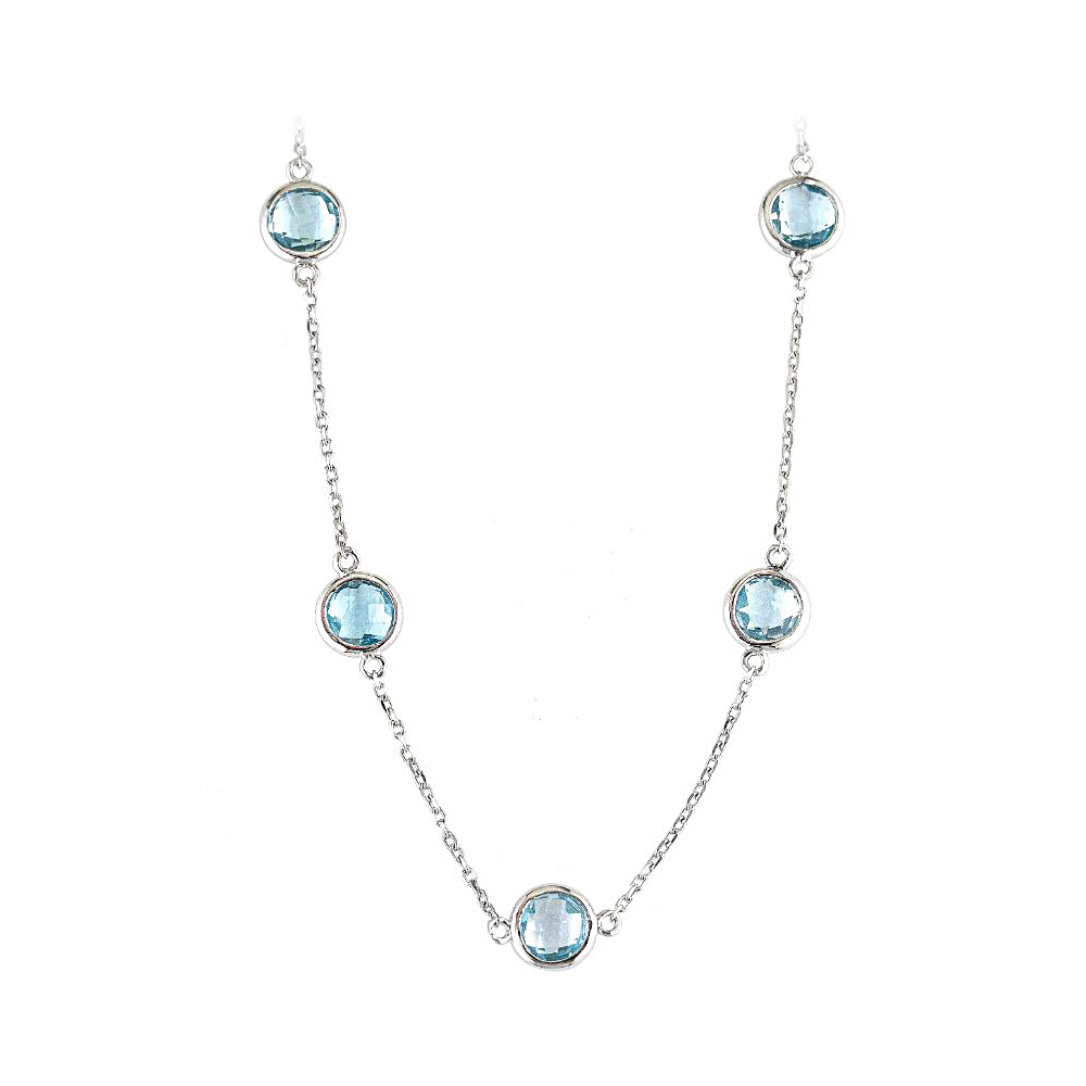 Sterling Silver Blue Topaz Station Necklace