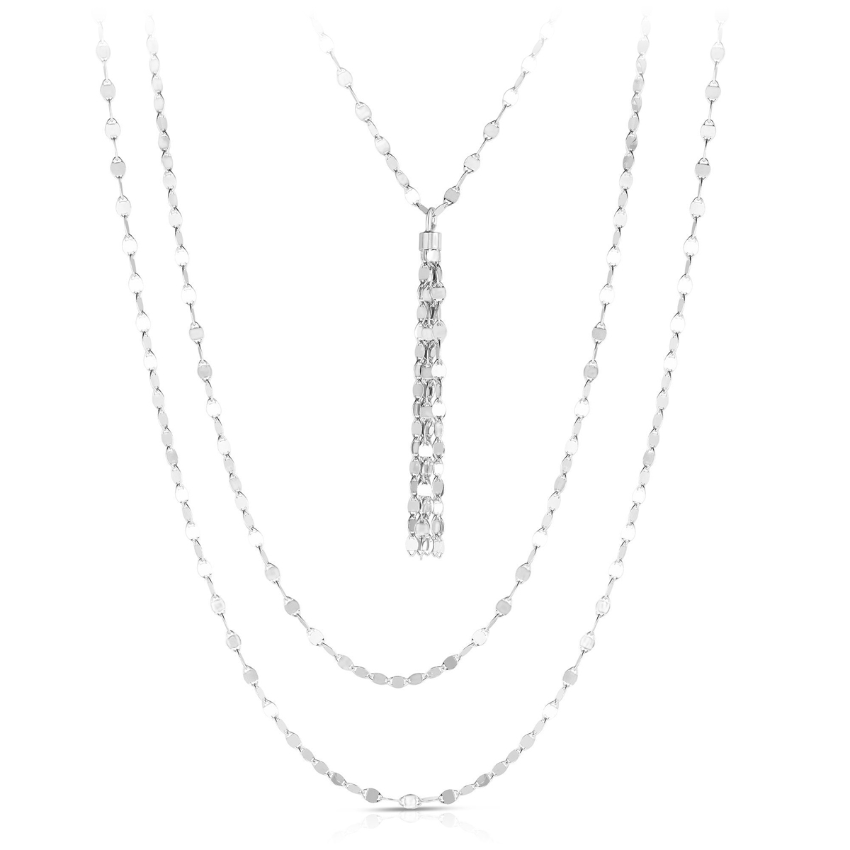 Royal Chain Sterling Silver Rhodium Multi Strand Necklace
