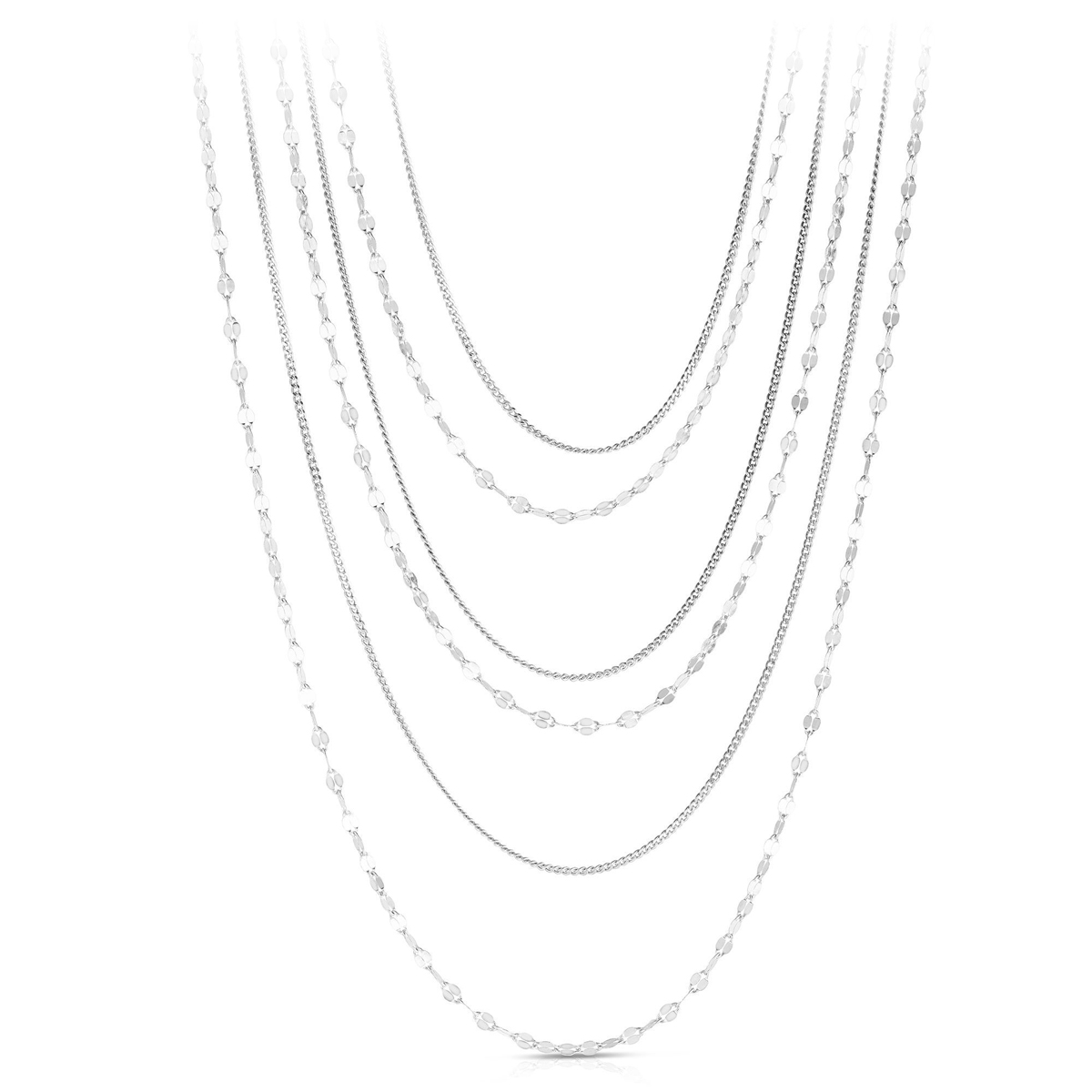 Royal Chain Sterling Silver Rhodium Diamond Cut Layered Necklace