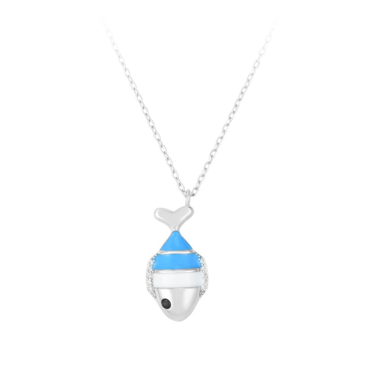 Royal Chain Sterling Silver Rhodium Blue and White Enamel Fish Necklace