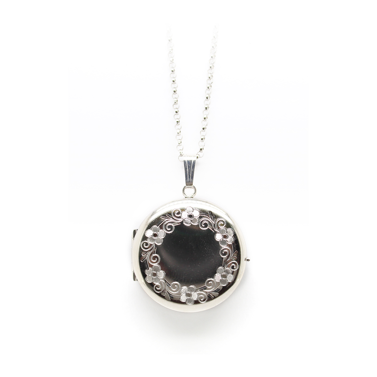 Sterling Silver Round Four Picture Locket Necklace