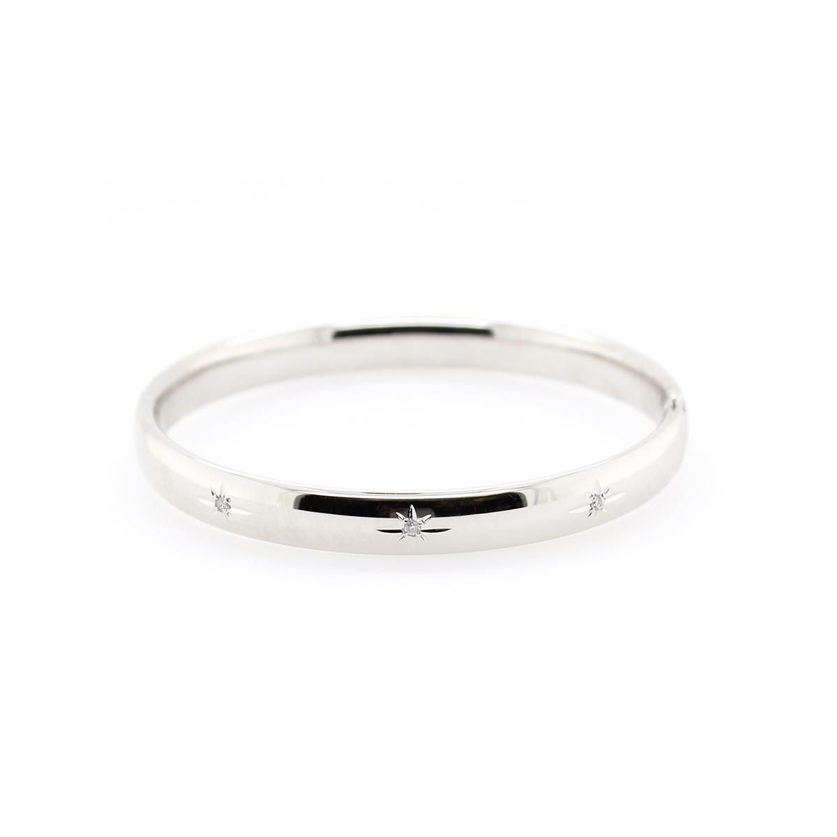 Sterling Silver 8mm Three Diamond Hinged Bangle Bracelet