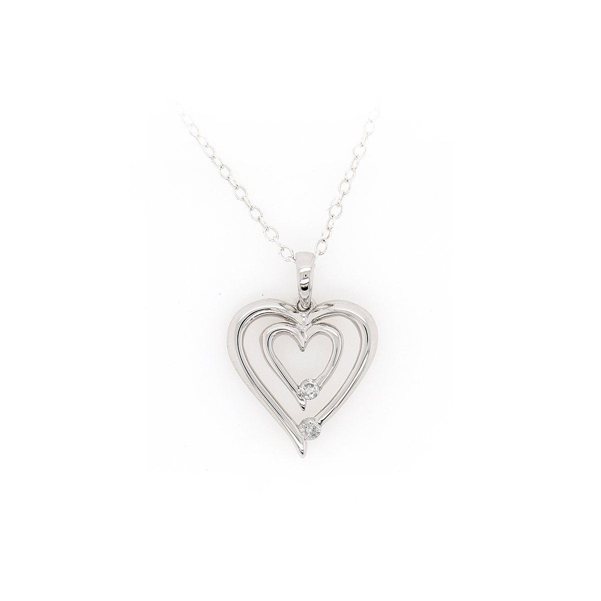 Paramount Gems Sterling Silver Diamond Two Heart Pendant Necklace