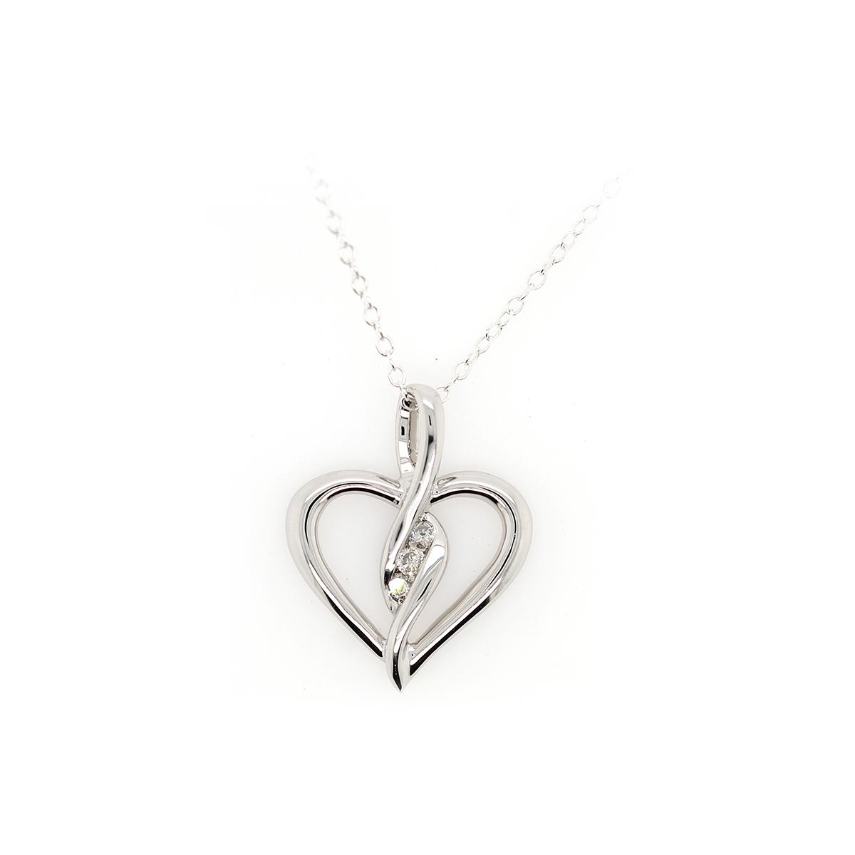 Paramount Gems Sterling Silver Diamond Heart Pendant Necklace