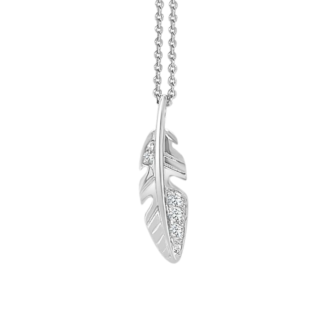 Paramount Gems Sterling Silver Diamond Feather Pendant Necklace