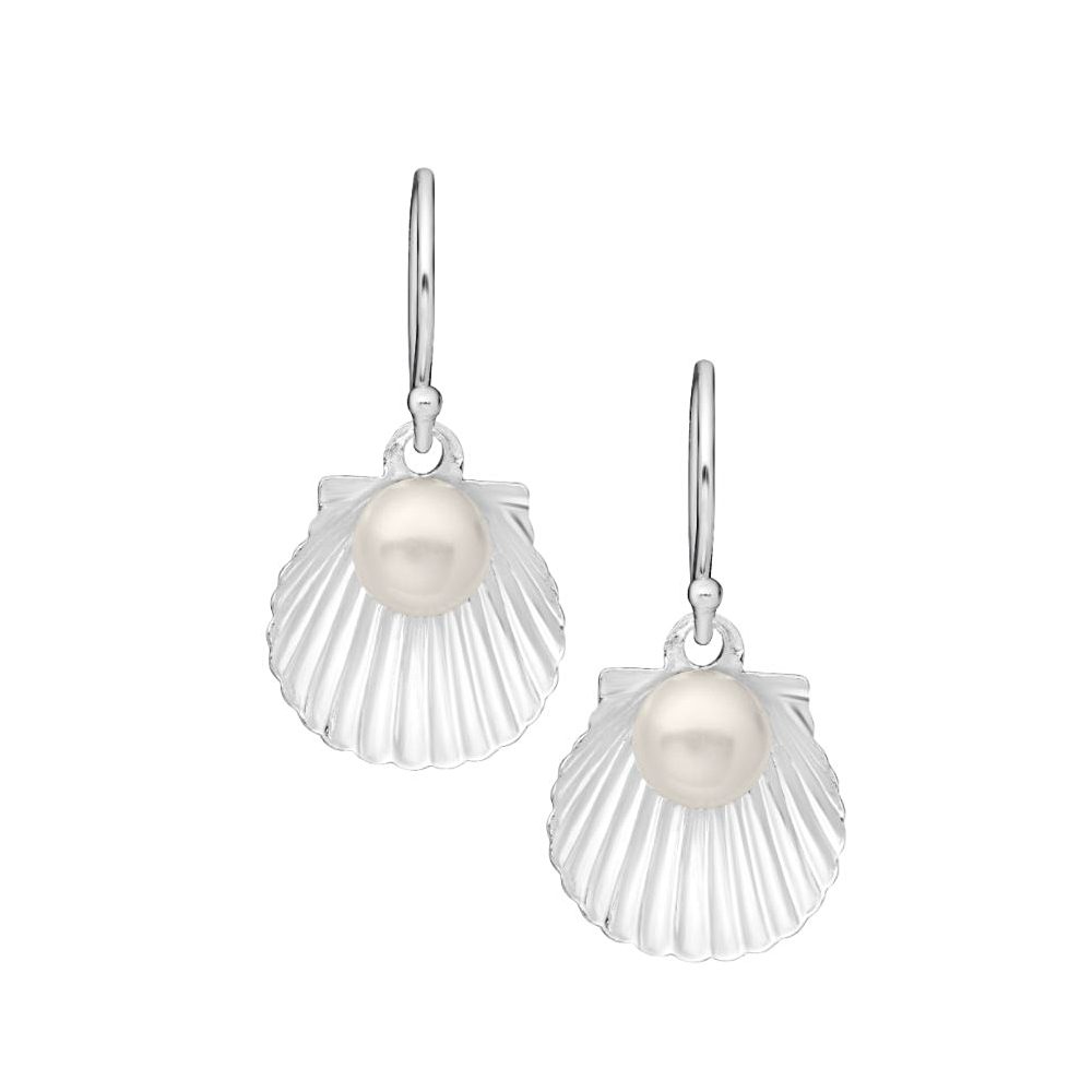 Sterling Silver Pearl Scallop Shell Dangle Earrings