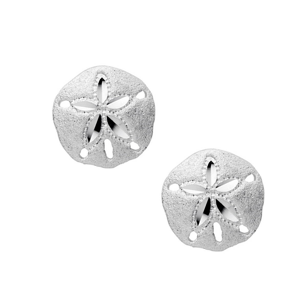 Sterling silver Small Sand Dollar Stud Earrings
