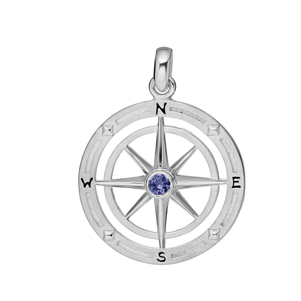 Sterling Silver Blue Sapphire Compass Rose Pendant Necklace