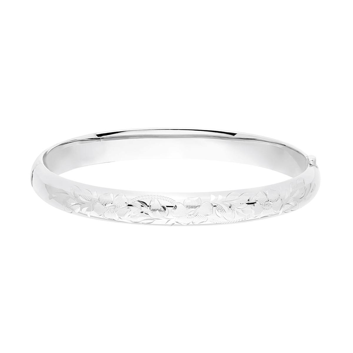 Sterling Silver Flower Engraved Bangle Bracelet