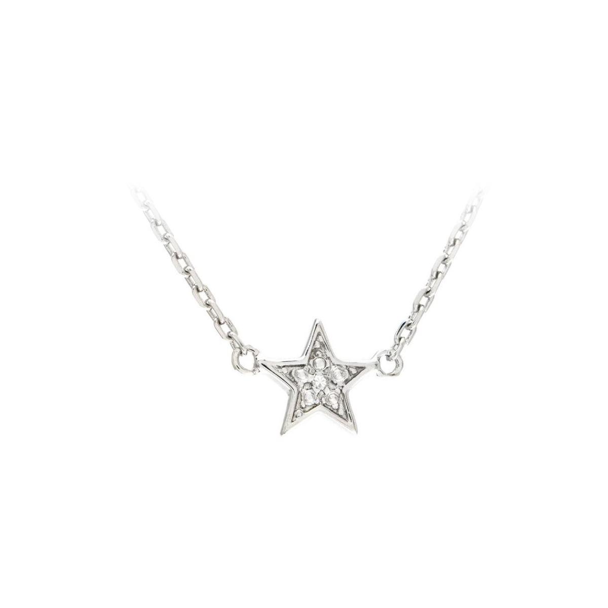 Sterling silver Diamond Star Station Necklace