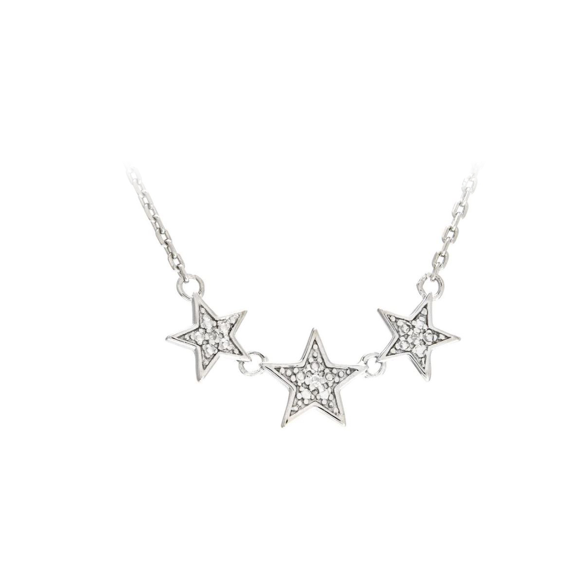 Sterling Silver Diamond Three Star Station Necklace
