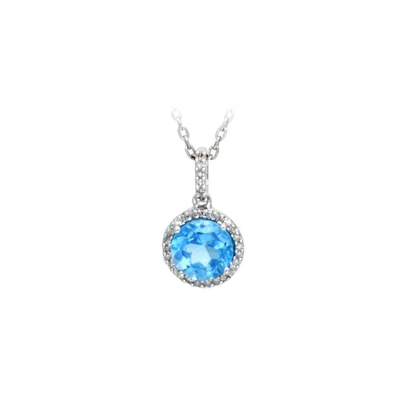 Sterling Silver Blue Topaz and Diamond Pendant Necklace